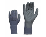 McLean Grey elastic nylon work gloves, palm coated polyurethane, in a plastic bag with hanger, S