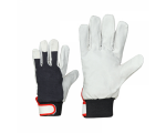 McLean Pig leather/cloth gloves, adjustable wrist, flanell lining XL