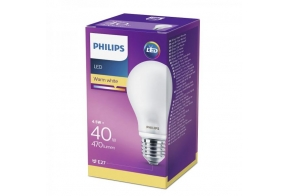 Philips LED lamp A60 4,5W E27 470lm 827 15000h matt klaas