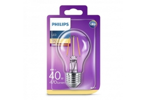 Philips LED lamp A60 4W E27 470lm 827 15000h filament