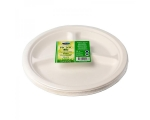 Smile sugarcane plates 26 cm, 3-compartments, white, 10 pcs
