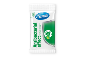 Smile antibacterial wet wipes, plantain, 15pcs
