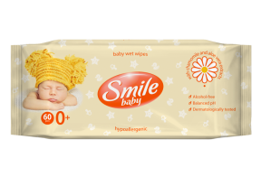 Smile wet wipes for babies, chamomille and aloe, 60 pcs.