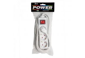 Extension cord 1,5m 3 sockets, white 1,0mm, earthed