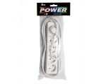Extension cord 1,5m 5 sockets+switch white 1,5mm