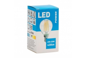 Filament LED bulb golf P45 420LM E14, Power
