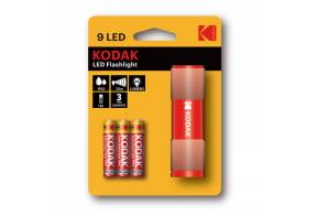 Kodak 9-LED flashlight+ 3 AAA, red