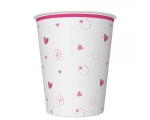 Paper cups 250ml, 8 pcs, Pink Unicorn