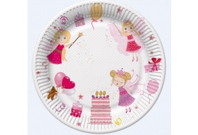 Paper plates 23cm, 8 pcs, Fairies