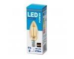 LED лампа C38 свечка, E14 400lm, матовое стекло