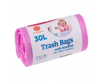 McLean trash bags with handles, 30l, 25pcs, pink