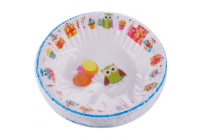 Smile deep paper plates 16cm, 12 pcs, Happy Owls