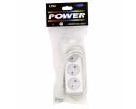 Extension cord 1,5m 3 sockets white 1mm