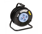 Cable reel with 4 sockets, 25m, black