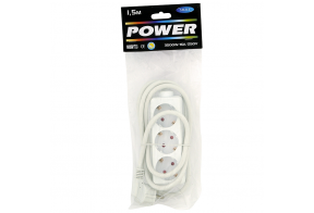Extension cord 1,5m 3 sockets, white 1,5mm