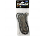 Extension cord 1,5m 3 sockets, black 1,5mm