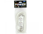 Extension cord 5,0m 3 sockets white 1,5mm